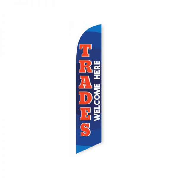 Trades Welcome Here (Blue and Red) Feather Flag