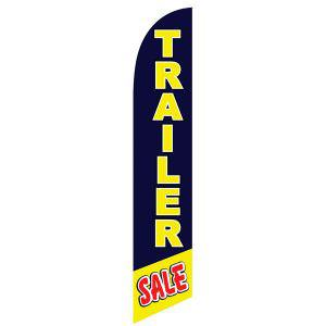 Trailer Sale feather flag is a bright yellow with blue background.