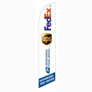 Use this FedEx UPS USPS Authorized Ship Center Feather Flag to get noticed