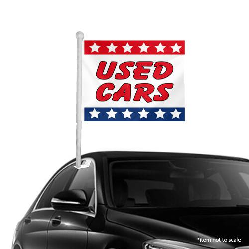 Used Cars patriotic Window Clip on Flags