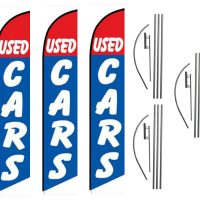 Used Cars Feather Flag Kits (3 Flags + 3 Pole Kits + 3 Ground Spikes)