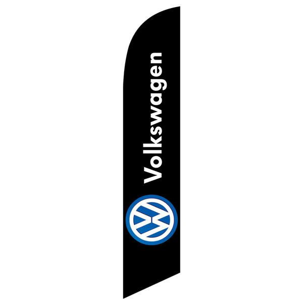 Black Volkswagen feather flag is a black flag with a digital design.