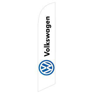 white Volkswagen feather flag is a white flag with a degital design.