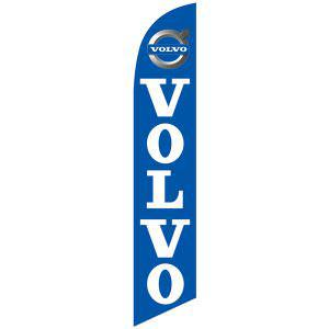 Volvo feather flag is a bright blue and white with a digital print.