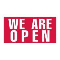 We Are Open Vinyl Banner