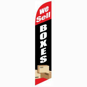 New and improved We Sell Boxes feather flag to use outside your business