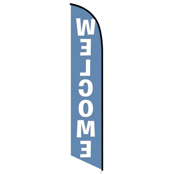Welcome blue feather flag