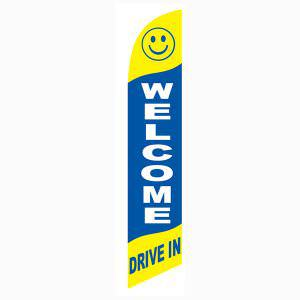 Welcome drive-in feather flag Blue and Yellow Smiley Face Swooper Banner