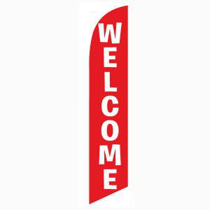 red Welcome feather flag Swooper Banner White Text 12 ft Tall