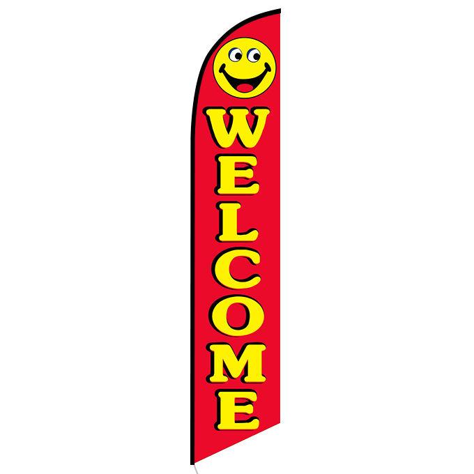Welcome Smiley Banner Flag - FFN-5048B