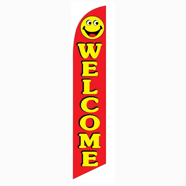 Welcome smiley banner flag Red Flag With Yellow Text Happy Face