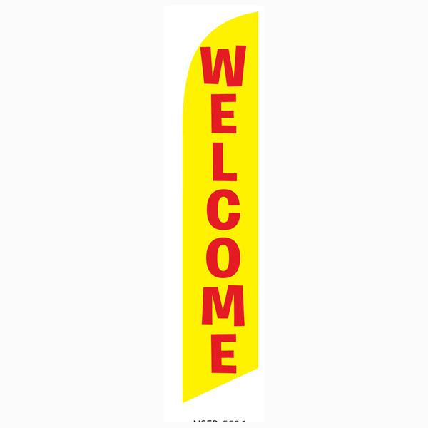 yellow Welcome feather flag Swooper Banner Measures 12ft tall