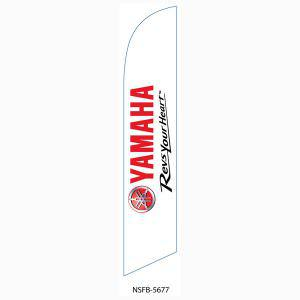 This white Yamaha feather flag is a bright white flag with a black design.