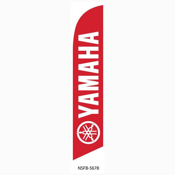Red Yamaha motorcycle feather flag is vivid red and white flag.