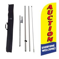 Auction Everyone Welcome yellow Flag Kit w/ Ground Stake and Travel Bag