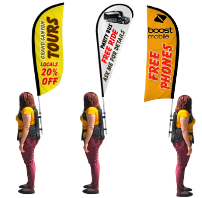 Backpack Flags - Signs for Advertising. Custom Flags come in three different shapes and sizes.