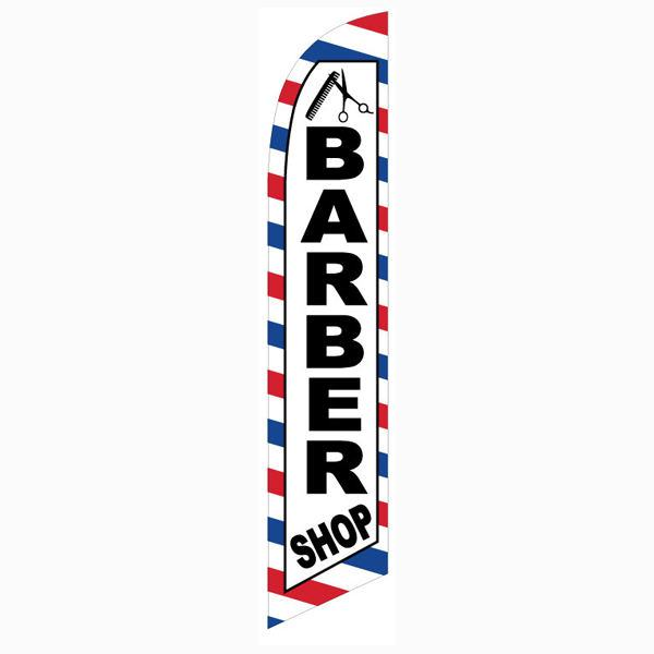 Our most popular Barber Shop feather banner flag for outdoor advertising