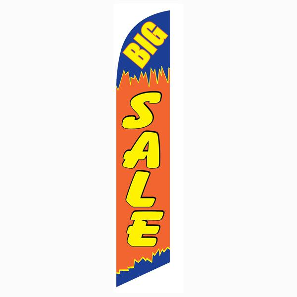 Big Sale feather flag is 12ft tall with a blue/orange and yellow design.