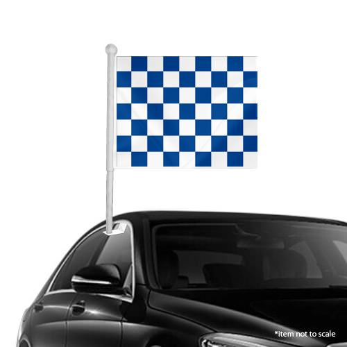 Blue White checkered Window Clip on Flag