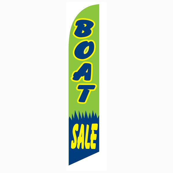 Boat Sale feather flag is a blue yellow and green 12ft flag.