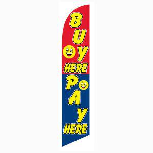 Buy Here Pay Here smiley banner flag is a 12ft blue on red flag.