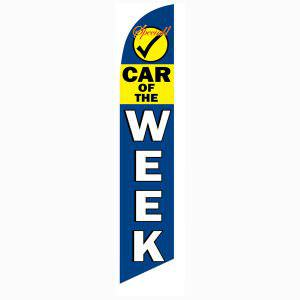 Car of the Week feather flag is blue and yellow standing at 12ft