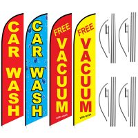 Car Wash Feather Flag Package – Pack of 4 with Pre-Curved Poles & Ground Spike