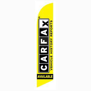Free Carfax Report feather flag is 12 ft with yellow and black print.