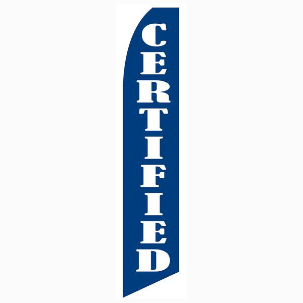 Blue Certified feather flag. Is a 12ft blue and white feather flag.