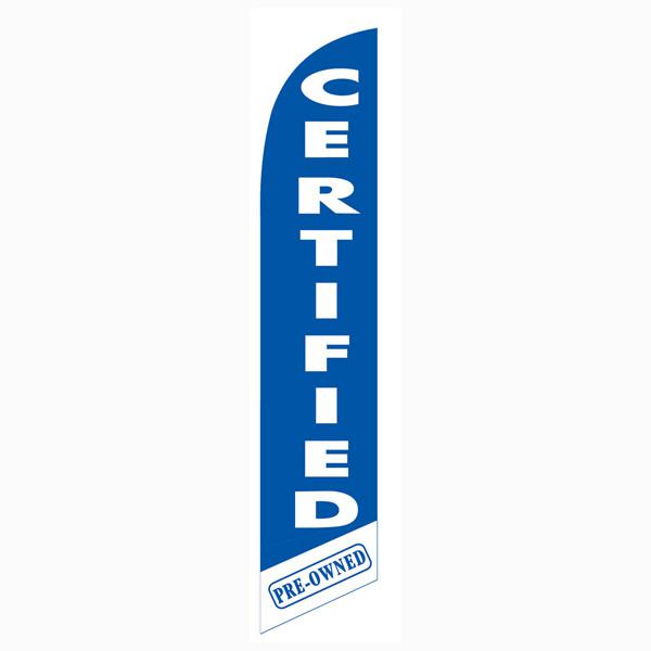 Blue Certified Pre-owned feather flag is 12ft with a blue and white print.