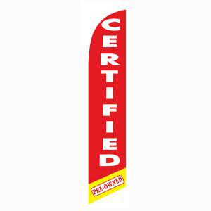 red Certified Pre-owned feather flag is a bright red 12ft flag.