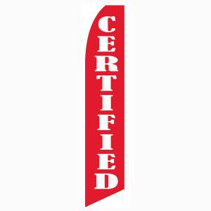 Red Certified banner flag has a red background and white lettering.