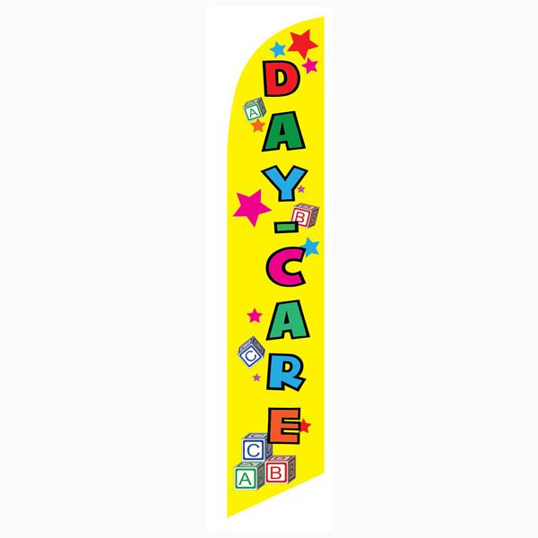 Low-cost Daycare yellow feather flag for new and existing businesses