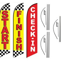 Three Pack Sale | Start Finish Check In Feather Flag Kits (3 Flags + 3 Pole Kits + 3 Ground Spikes)