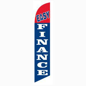 Easy Finance feather flag is a bright blue and red 12ft feather flag.