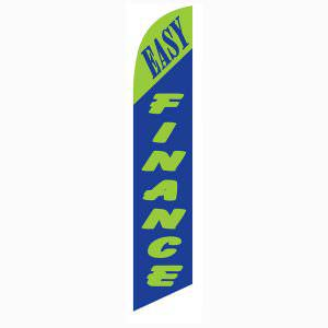 Green and blue Easy Finance feather flag is 12ft with blue and green coloring.