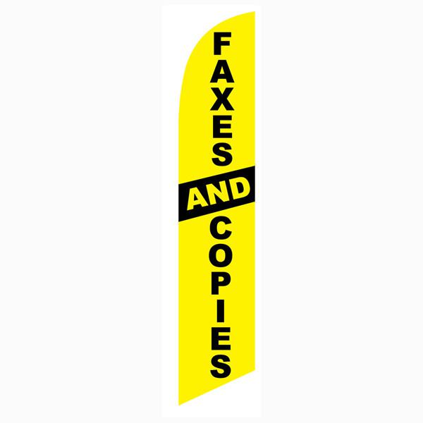 Faxes and Copies feather flag Yellow Swooper Banner with Black Text
