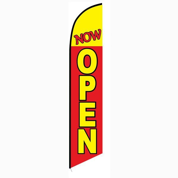 Now Open Feather Flag   red & yellow