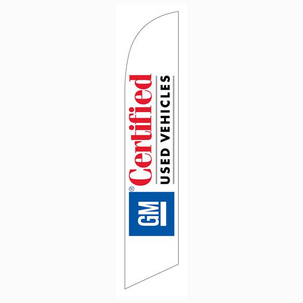 GM certified Used Vehicles feather flag has red/white & balck.