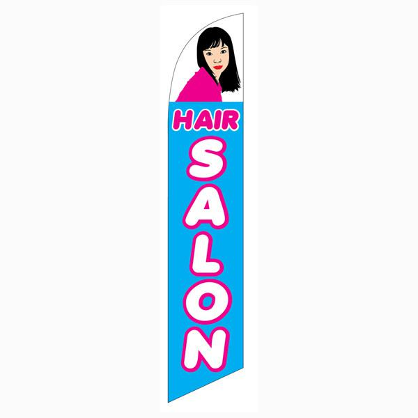 Brightly designed Hair Salon blue feather flag for your outdoor banner needs