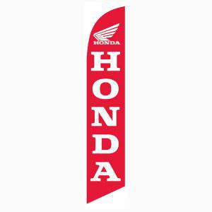 Honda motorcycle feather flag has a red background with white lettering.