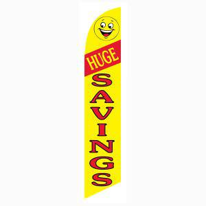 Huge Savings feather flag or windless banner is yellow and red.