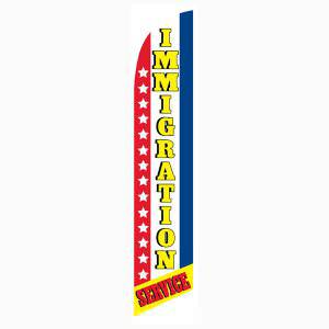 Immigration service feather flag is the perfect banner to use outdoors