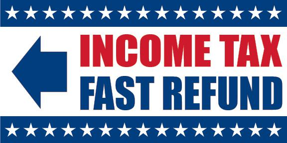 Income Tax Fast Refund Sign Banner Arrow Left - FFN-PDTAX3