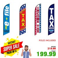 Income Tax Feather Flags – Pack of 4 with Flexible Poles & Ground Spike