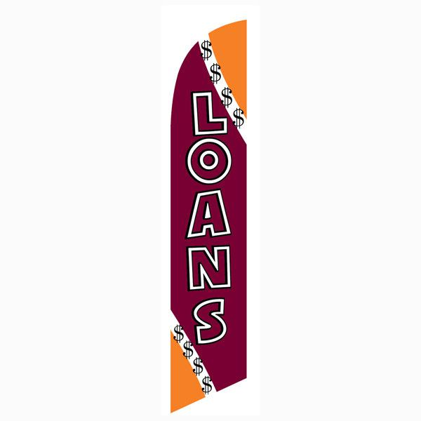 Outdoor advertising Loans feather flag.  Easily install at varying locations