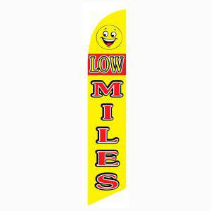 Low Miles smiley feather flag and banner has a yellow and design.