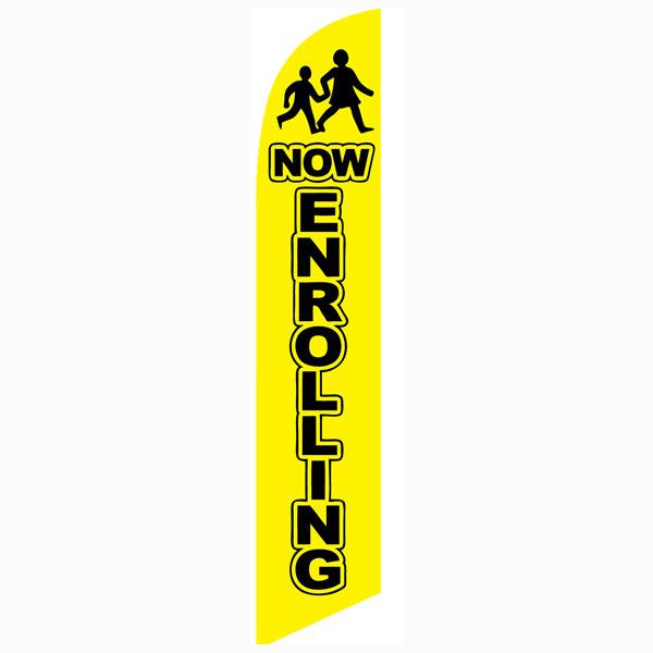 Now Enrolling yellow feather flag is a must have for all businesses