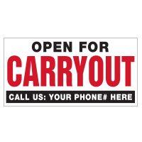 Open for Carryout Vinyl Banner