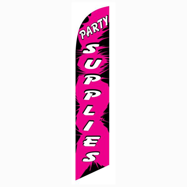 Party Supplies feather flag is a great vinyl banner alternative